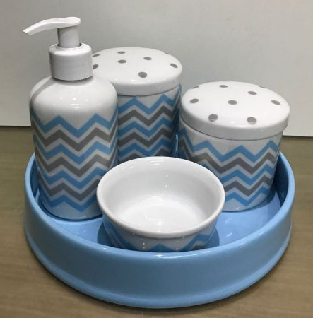 Kit Higiene  Kit Higiene Bebê 5 peças Chevron ( 6 cores )
