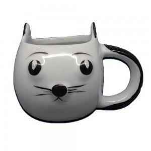 Caneca Gato Branco - Porcelana - Linda