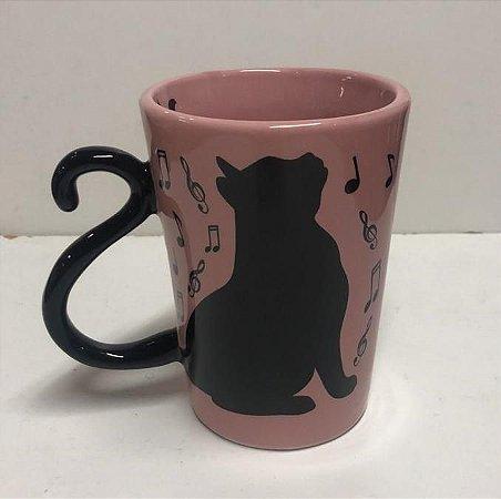 Caneca De Gato preto - Alça é o Rabo do Gato - Cor Rosa