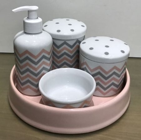Kit Higiene  Kit Higiene Bebê 5 peças Chevron Rosa