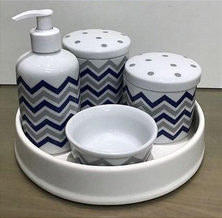 Kit Higiene  Kit Higiene Bebê 5 peças Chevron Azul Marinho