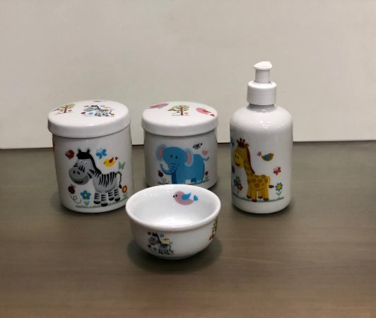 Kit Higiene Bebê 4 peças Safari