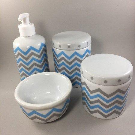 Kit Higiene Bebê 4 peças Chevron Azul