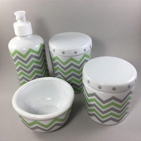 Kit Higiene Bebê 4 peças Chevron Verde