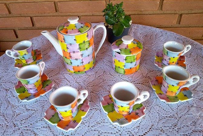 Kit Café Modelo Patchwork 8 Peças - Porcelana Pintura A Mão