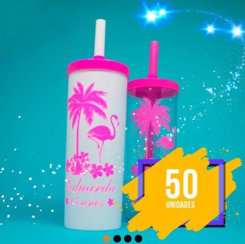 d61339154 Kit 50 Long Drink 350ml Personalizados C  Tampa E Canudo - Copo ...