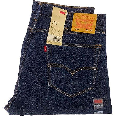 Calça Levi's 505 masculina 100% Algodão - Marinho -Regular fit