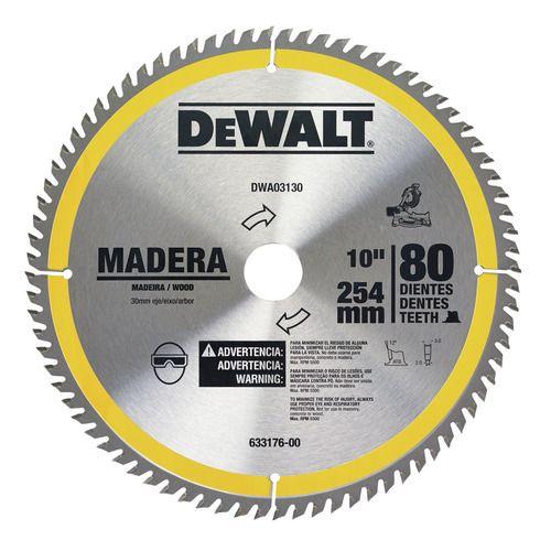 """Disco de Serra 10"""" 80 dentes Para madeira DWA03130"""