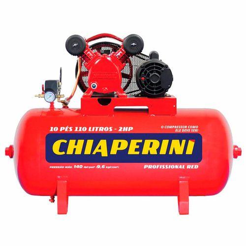 Compressor de ar 10 pés 110 litros 2 hp 140 lbs - 10/110 RED 110/220 CHIAMPERINI