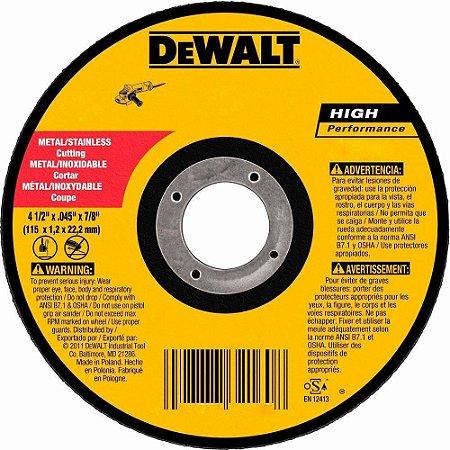Disco Abrasivo para Corte 4-1/2 - DEWALT-DW8062 Caixa com 25 peças