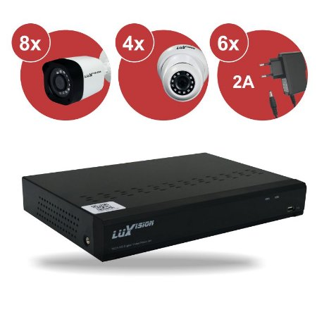 Kit CFTV HVR ECD 1080N 16 canais + 08 Câm. Bullet 720P + 04 Câm. Dome 720P + 06 Fonte 12v 2A