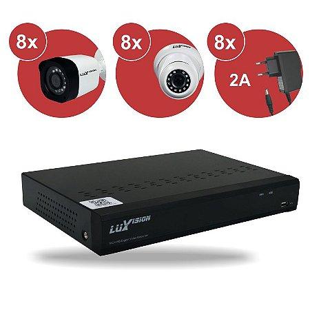 Kit CFTV HVR ECD 1080P 16 canais + 08 Câm. Bullet 1080P + 08 Câm. Dome 1080P + 08 Fonte 12V 2A