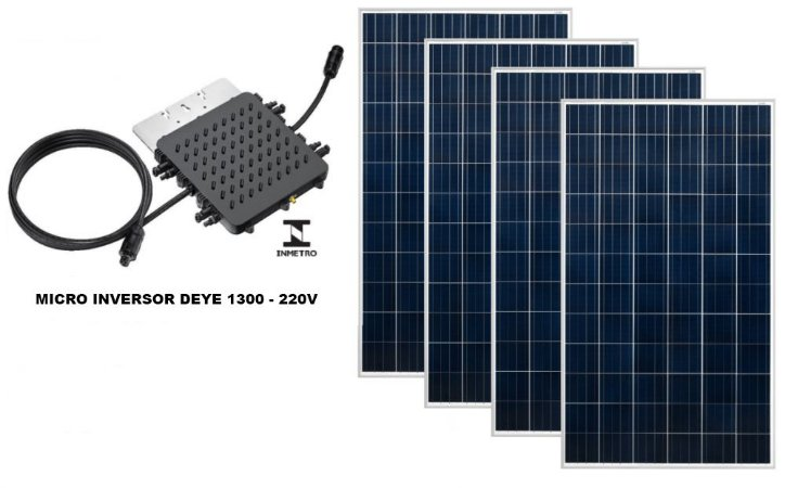 KIT USINA SOLAR COM 4 PAINÉIS 320W  - TELHA CERAMICA