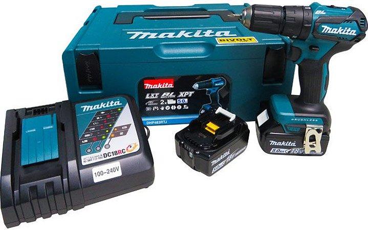 Parafusadeira/Furadeira de Impacto 1/2 Com 2 Baterias 18V e Carregador - DHP483RTJ - Makita