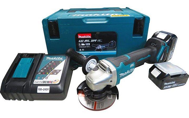 Esmerilhadeira Angular 4 1/2 Com 2 Baterias e Carregador - DGA458RTJ - Makita