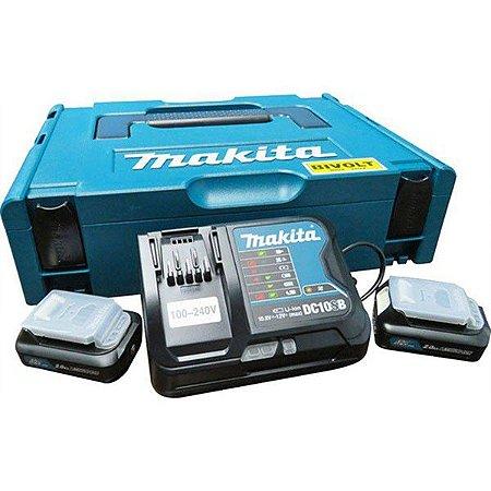 Kit Carregador de Bateria 12V DC10SB C/ 2 Baterias 2AH (CXT) - 197656-9 - Makita