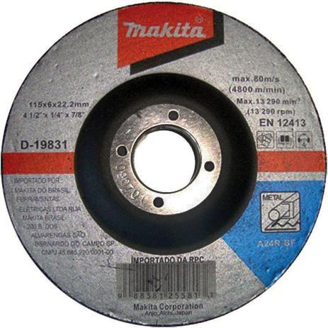 Disco de Desbaste Abrasivo 4.1/2x1/4x7/8 GR24 - D-19831-5 - Makita
