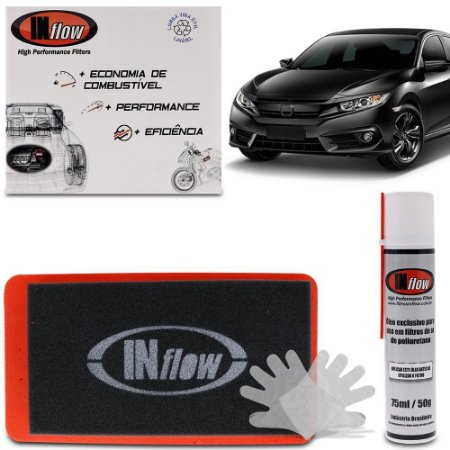 Filtro de Ar Esportivo Inflow Inbox Honda Civic G10 17 a 19 1.5 Turbo CR-V 17 18 1.5 Turbo HPF6365
