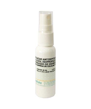 Solução Antisséptica com álcool isopropílico e peróxido de hidrogênio para limpeza de celular e óculos