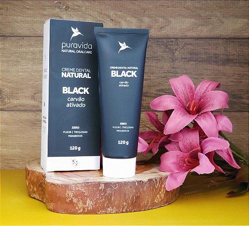 Creme dental natural BLACK com carvão ativado - PURA VIDA