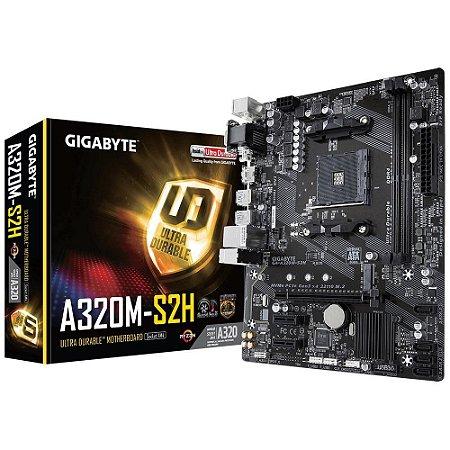 Placa-Mãe GIGABYTE p/ AMD AM4 mATX GA-A320M-S2H, 2xDDR4 32GB, HDMI, DVI, M.2, PCIe, USB 3.1