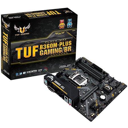 Placa-Mãe ASUS p/ Intel LGA 1151 mATX TUF B360M-PLUS GAMING/BR,4x DDR4