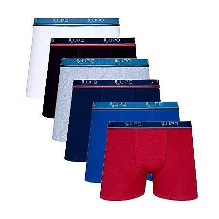 Kit com 6 Cuecas Lupo Boxer Branca, Preta, Cinza, Azul Marinho, Royal e Marsala - Algodão com Elastano - 523