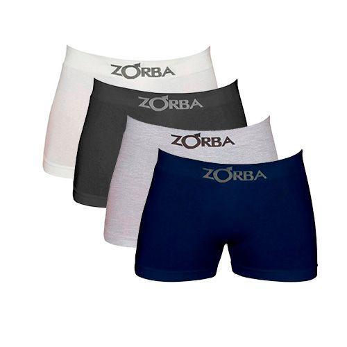 Kit com 4 Cuecas Zorba Boxer Branca, Preta, Cinza e Azul Marinho - Algodão sem costura - 781