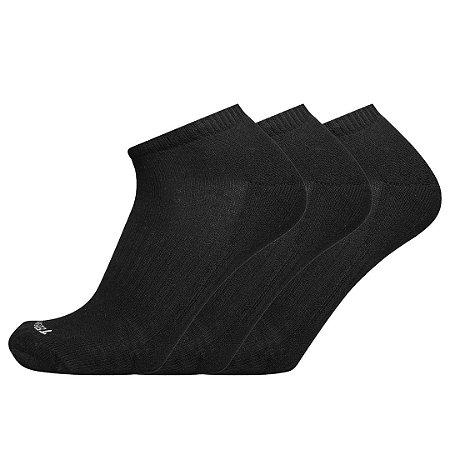 Kit 3 Meias de Algodão Cano Curto Preta Ted Socks 1400