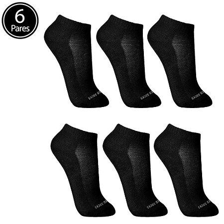 Kit 6 Meias Sem Costura Cano Curto Preta Walk Ted Socks