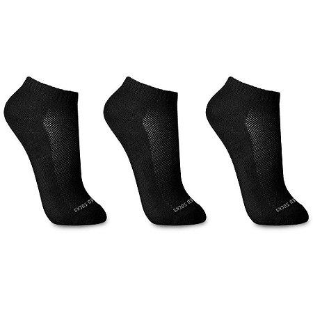 Kit 3 Meias Sem Costura Cano Curto Branca Preta Cinza Walk Ted Socks