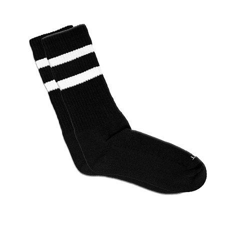 Meia Cano Longo Preta Listrada Ted Socks 2700