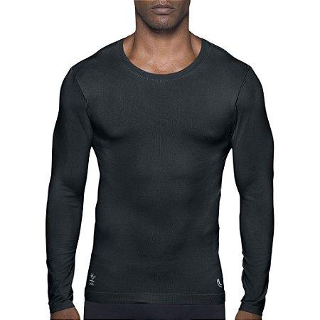 Camiseta Compressão Lupo Proteção Solar Uv 50+ Segunda Pele Preto 70632