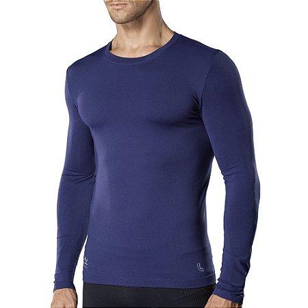 Camiseta Compressão Lupo Proteção Solar Uv 50+ Segunda Pele Azul 70632
