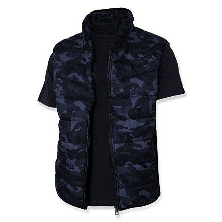 Colete Masculino de Nylon Acolchoado Puffer Camuflado Azul
