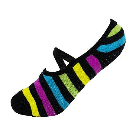 Meia Antiderrapante de Pilates Listrada Colorida Ted Socks