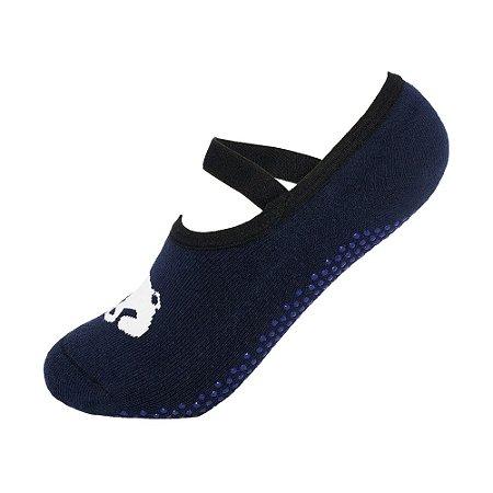 Meia Antiderrapante de Pilates Azul Panda Ted Socks