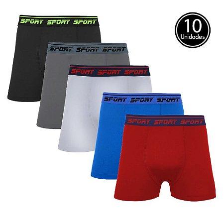Kit com 10 Cuecas Boxer Lisa Cores Sortidas de Viscose Sport