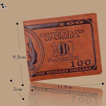 Y -  Carteira Couro Masculino Marron - Backside 100 Dolares-