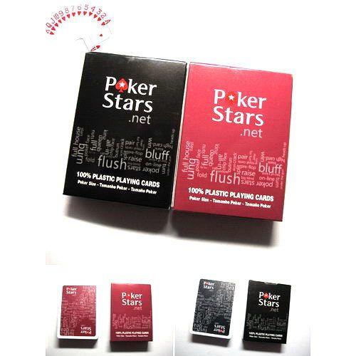 Baralho Poker Stars  Preto Ou Vermelho  - 100%  Plastico  Poker