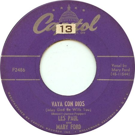 COMPACTO - Les Paul And Mary Ford – Vaya Con Dios / Johnny (Is The Boy For Me)