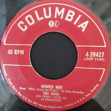 COMPACTO - Toni Arden With Percy Faith – Dark Is The Night / Wonder Why (Importado US)