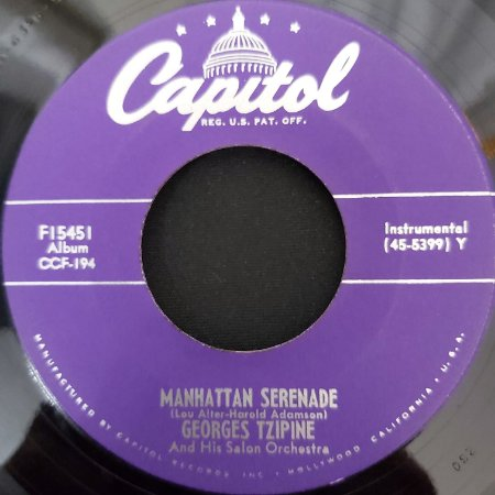 """COMPACTO - Georges Tzipine - Manhattan Seranade / Songs My Mother Taught Me (Importado US) (7"""")"""