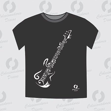 Camiseta Guitarra - Baby Look - preta - pronta entrega (Gola Redonda)