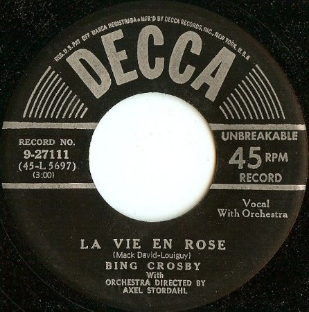 Comp. - Bing Crosby ‎– La Vie En Rose / I Cross My Fingers
