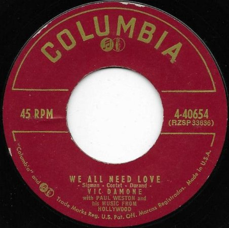 COMPACTO - Vic Damone - On The Street Where You Live  / We All Need Love