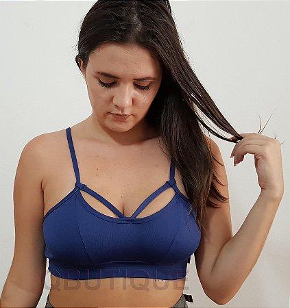TOP com Recorte e Detalhe  Azul Marinho