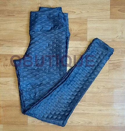 Calça Legging Cirrê com Detalhes em bolha Azul