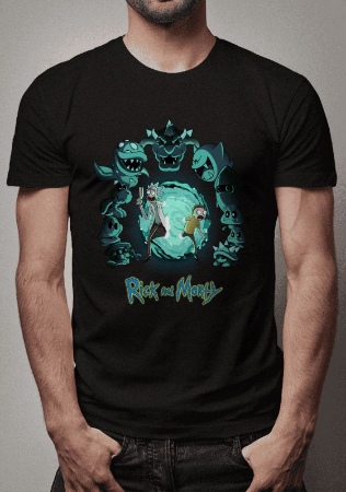 Camiseta Crossover Mario Bros e Rick and Morty