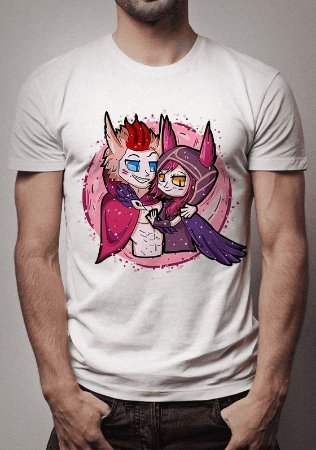 Camiseta Rakan e Xayah Loves in The Air League of Legends